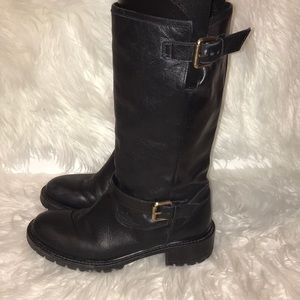 Fendi leather boots with real fur lining size 37.5